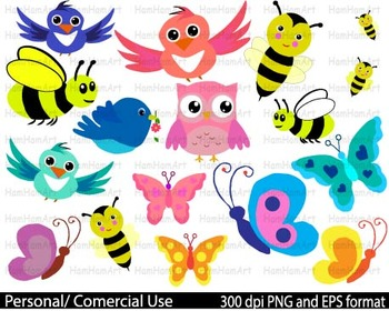 Spring Clip Art school pastel crayon bee butterfly baby photo owl HEART -021-