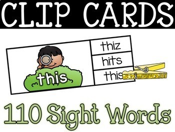 Spring Clip Card Center - Sight Word Clip Card Literacy Center