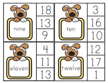 Number Clip Cards 1-20