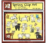 Spring Clip art: Sheep, Lamb, Ram, Flowers, Hearts and Butterflies