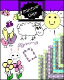Spring Clip art and chalkboard backgrounds (commercial and personal)