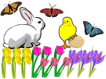 Spring Clipart Butterflies, Flowers, Bunny Rabbit, Chick ...