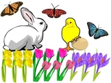 Spring Clipart Butterflies, Flowers, Bunny Rabbit, Chick