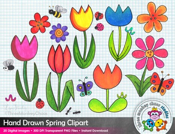 Spring Clipart | Colorful Garden Clip Art | Hand Drawn Digital Drawings