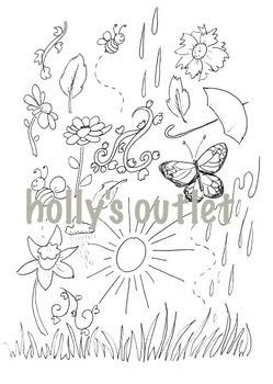 Clipart Spring // Coloring Page, Springtime, Season, Seasonal, Printable Page