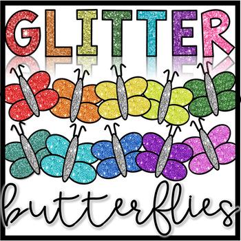 Spring Clipart- Glitter Butterflies