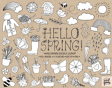 Spring Clipart. Hand Drawn Doodle Flower, Rainbow, Weather, Rain Boots Clip Art