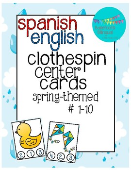 Spring Clothespin Counting Center Cards