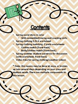 Spring Clothing and Weather Packet- For Special Education and Autism