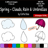 Spring - Clouds, Rain and Umbrellas Clip Art