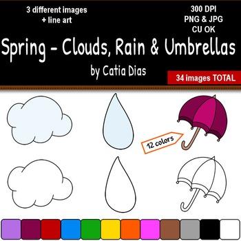 Spring - Clouds, Rain and Umbrellas Clip Art