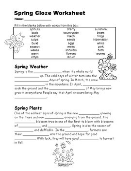 spring cloze worksheet by creations by lackert tpt. Black Bedroom Furniture Sets. Home Design Ideas