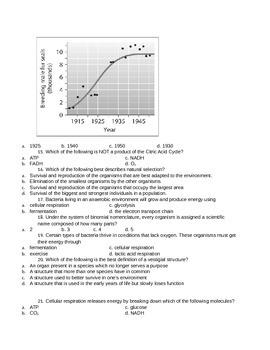 Spring College Prep Biology Exam