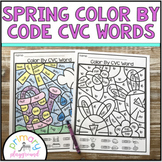 Spring Color By Code CVC Words