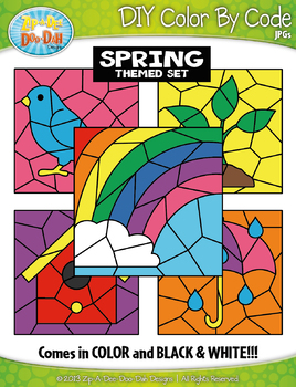 Spring Color By Code Clipart {Zip-A-Dee-Doo-Dah Designs}