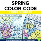 Spring Color By Code - Double Digit Addition without Regrouping