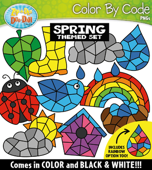 Spring Color By Code Shapes Clipart {Zip-A-Dee-Doo-Dah Designs}