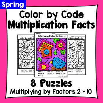 Spring Color By Multiplication Facts: Multiplying by Factors 2 - 10