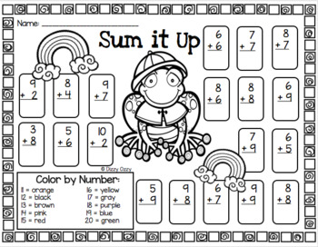 Spring Color By Number Addition 10 to 20
