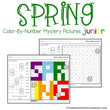 Color-By-Number Addition, Spring Addition Mystery Pictures (K-2)
