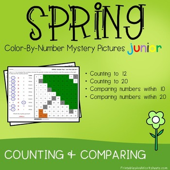 Spring Counting/Greater Than/Less Than - Color-By-Number Mystery Picture (K-2)