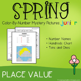Color-By-Number Place Value, Spring Place Value Mystery Pictures (K-2)