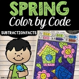 Spring Color By Number Subtraction Facts   Spring Activities   Subtraction