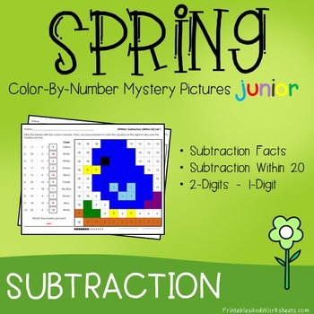 Color-By-Number Subtraction, Spring Subtraction Mystery Pi