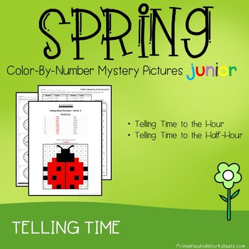 Spring Telling Time the Hour / Telling Time to the Half Hour, Mystery Pictures