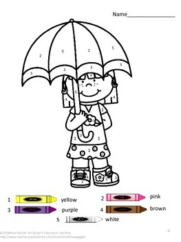 Color by Number Spring Math Centers Special Education Fine Motor Skills