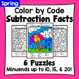 Spring Color By Subtraction Facts: Minuends up to 10, 15, & 20
