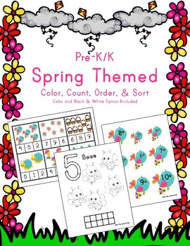 Spring Color, Count, Order, & Sort Activities