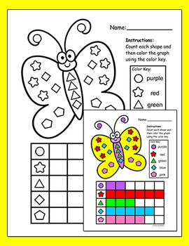Spring and Summer Graphing Shapes Activities - Bee, Butterfly, Flowers & Ladybug