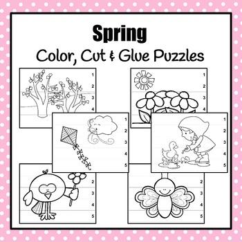 Spring Color, Cut & Glue Puzzles