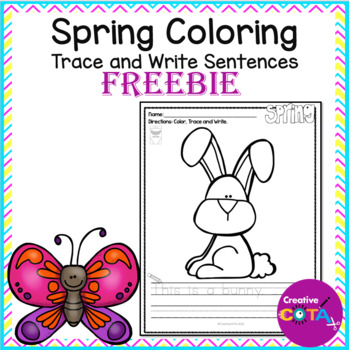 Spring Color, Trace and Write a Sentence Free Sample