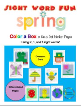 Spring Color-a-box Sight Word fun for Grades K, 1, 2