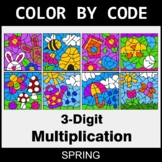 Spring Color by Code - 3-Digit Multiplication