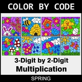 Spring Color by Code - 3-Digit by 2-Digit Multiplication