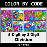 Spring Color by Code - 5-Digit by 2-Digit Division