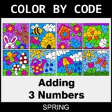 Spring Color by Code - Adding 3 Numbers