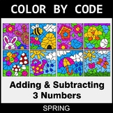 Spring Color by Code - Adding & Subtracting 3 Numbers