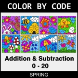 Spring Color by Code - Addition & Subtraction (0-20)
