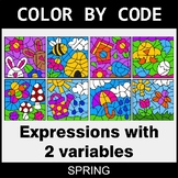 Spring Color by Code - Algebra: Expressions with 2 variables