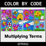 Spring Color by Code - Algebra: Multiplying Terms