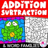 Spring Pond Life Color by Code Addition, Subtraction & Word Family Bundle