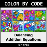 Spring Color by Code - Balancing Addition Equations