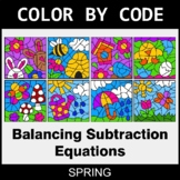 Spring Color by Code - Balancing Subtraction Equations