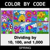 Spring Color by Code - Dividing by 10, 100, and 1,000