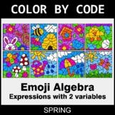 Spring Color by Code - Emoji Algebra: Expressions with 2 v