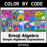 Spring Color by Code - Emoji Algebra: Simple Algebraic Exp